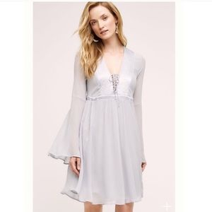 Anthropologie Ghost Blue Belled Peasant Dress XS